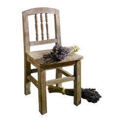 """Pier Surplus - Decorative Rustic Style Chair #PB221581 - This rustic wooden chair is a child's delight! Made of wood and hand-finished to give it a burnished antique look, this chair stands 19.75"""" tall and can be used inside or outdoors. Three spindles make up the back rest, with a gently curving top that is easy for little hands to grasp. It is not hard to imagine your grandchild or young friend enjoying this chair during their early years."""