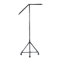 Slant Arm Rolling Garment Rack - Keep your stylish ensembles on display and just a reach away with this chic, retail-style garment rack. With a slanted arm, this chic piece would absolutely stun in a loft space.