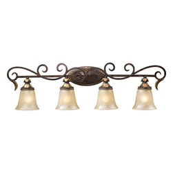 "ELK Lighting - ELK Lighting 2153/4 4 Light Down Lighting Bathroom Fixture from the Regency Coll - 4 Light Down Lighting Bathroom Fixture in Burnt Bronze with Caramel Amber GlassFeatures solid cast iron construction and weathered gold leaf accentsDimensions: 11""H x 39""W x 8""Ext.Requires 4 60W Medium Bulbs (Not Included)"