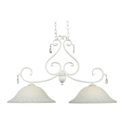 Kenroy Home - Kenroy 92048WW Chamberlain 2 Lt. Island Light - Delicate curves, and a French design, influence give Chamberlain's timeless profile and chic Weathered White finish a matriarchal presence. Attention to detail, and the sparkle of cut glass accents, festoons this regal family.
