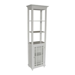 Elegant Home Fashions - Neal Linen Tower in White w 3 Shelves and Sto - Attractive addition to any bath decor. Adds style and storage to your bath. White finish. Made of MDF, glass. 18 in. W x 11 in. L x 62 in. H