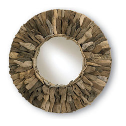 Currey & Company Leeward Mirror, Natural Wood - This mirror has a simple design with a bold, rustic statement. I can see it on a beautiful gray wall.