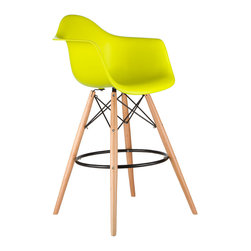Barstool Arm Chair in Pop Yellow - Take iconic mid-century modern design to new heights. Inspired by the classic design aesthetic of our Montmarte Arm Chair, the Barstool Arm Chair offers stylish modern seating for your counter-height needs. The chair features a smooth polypropylene seat with a waterfall edge for added support. It also features natural wood dowel legs. We see this chair fitting in at the kitchen island, providing a comfortable seat for late night stacks or kitchen chatter. Available in a variety of vibrant colors, the chair will spruce up your d�cor without overpowering the room.
