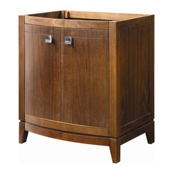 Decolav - Gavin 30 in. Vanity in Medium Walnut - 5241-M - Manufacturer SKU: 5241-MWN. Part of the Gavin modular collection. Solid wood legs and frame with medium walnut finish. Two curved doors with soft closing hinges. Satin nickel hardware. Countertop and lavatory not included. 21.5 in. L x 30 in. W x 35.25 in. H. Installation InstructionsDECOLAV's Gavin Vanity in Medium Walnut has dynamic edges and strong lines setting this vanity collection apart. Soft closing hinges are used for a smooth secure close. The elegant hardware included add an extra function and style creating an overall visual masterpiece to this collection. The trend setting design of this collection is ideal for any decor.