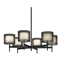 Post Modern 6 Gauze and Fabric Shades Chandelier -