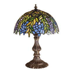 """Meyda Tiffany - 17.5""""H Tiffany Honey Locust Accent Lamp - The Honey Locust was popular floral design created by Louis Comfort Tiffany, more than a century ago. Decorative dome-shaped stained glass lampshades, with petal shaped edges depict clusters of Plum and Periwinkle flowers amid Spring Green leaves cascading towards the base. This accent lamp has a complementary decorative base featuring our Mahogany Bronze finish."""