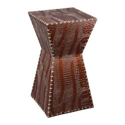 Holly & Martin - Rochester Faux-Leather Accent Table - Bring out your inner animal without scaring guests away with this studded, alligator-patterned faux leather side table. Don't worry, it won't bite.