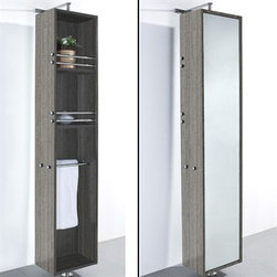 Modern Bathroom - April Rotating Floor Cabinet with Mirror by Wyndham Collection - Grey Oak - April Rotating Floor Cabinet with Mirror takes modern looks and bathroom storage to the next level with its clever design. Featuring a space-saving design which rotates 360 degrees this cabinet combines a full length mirror on one side with three large storage spaces and integrated towel racks on the other. This unit mounts to the floor and wall and metal mounting hardware is included.Available in multiple finishes. The Wyndham Collection is an entirely unique and innovative bath line. Sure to inspire imitators, the original Wyndham Collection sets new standards for design and construction. Features 8-stage painting and finishing process Wall- and Floor-mounted storage cabinet Rotates 360° on floor-mounted post Mirrored fully on one side Metal hardware with chrome finish Two shelves, two towel bars Spec SheetInstallation Guide for Cabinet