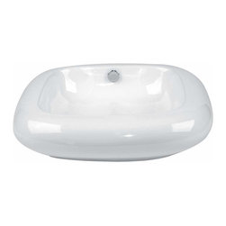 Renovators Supply - Vessel Sinks White Capri Square Vessel Sink | 13466 - Square Vessel Sinks. Vessel Sinks Above Counter: Made of Grade A vitreous China these sinks endure daily wear and tear. Our protective RENO-GLOSS finish resists common household stains and makes it an EASY CLEAN wipe-off surface. Ergonomic and elegant easy reach design reduces daily strain placed on your body. SPACE-SAVING design maximizes limited bathroom space. Easy, above counter installation let's you select from many faucet styles and countertop designs, sold separately. Measures 21 inch W x 20 1/2 inch projection