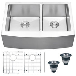 Ruvati - Ruvati RVH9201 Apron Front Kitchen Sink - Elegant, apron-front farmhouse kitchen sinks are a bold addition to any kitchen. Deep, rectangular bowls with bottom drain grooves and a curved apron front define the Verona series.