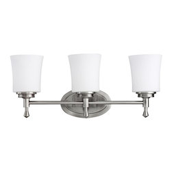 KICHLER - KICHLER 5361NI Wharton Transitional Bathroom / Vanity Light - Not quite contemporary, not fully traditional - this three light bath fixture envelops Edith Wharton's principles of design. Intriguing concepts of basic shapes complement a Brushed Nickel finish and Satin-Etched cased opal glass. Fixture may be installed with glass up or down. U.L. listed for damp location.