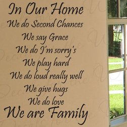 Decals for the Wall - Wall Decal Sticker Quote Vinyl Decorative We Do Second Chances Love Family F63 - This decal says ''In our home we do second chances, we say grace, we do I'm sorry's, we play hard, we do loud really well, we give hugs, we do love, we are family''