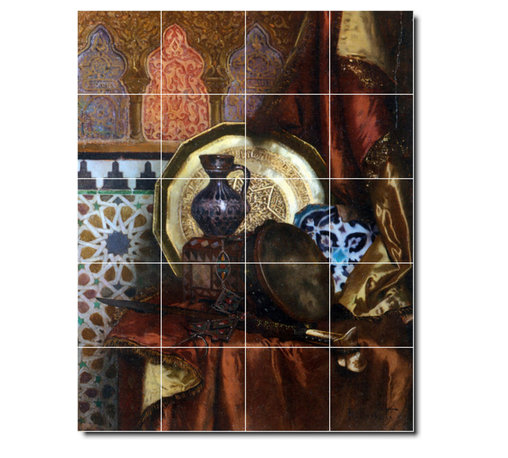 Picture-Tiles, LLC - A Tambourine Knife Moroccan Tile And Plate Tile Mural By Rudolf Ernst - * MURAL SIZE: 30x24 inch tile mural using (20) 6x6 ceramic tiles-satin finish.