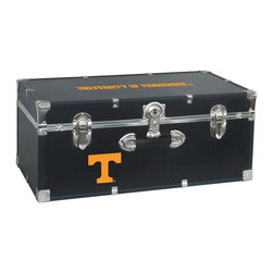 Seward Trunk - University of Tennessee Storage Trunk - Officially licensed. Front center key lock. One handle on the front. Paper lined to help protect interior contents. Screen printed logo. Heavy gauge vinyl. Nickel hardware and trim. Made from wood. Black finish. Made in USA. 30 in. L x 15.75 in. W x 12.25 in. H (18 lbs.)Storage you can show off!!!