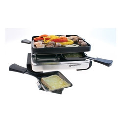 Swissmar - Swissmar Classic 4 Person Raclette with Reversible Grill & XL Dishes - 4-Heat Resistant Spatulas Reversible cast aluminum grill top. Perfect for grilling and making crepes. 4-Raclette XL dishes included Gift boxed w/ Instructions and Recipe BookletVariable heat control1-Year warrantyNote: do not use cooking spray on grill top surface or on raclette dishes.