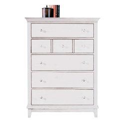 American Drew - American Drew Sterling Pointe 5 Drawer Chest in White - White with White Top - Sterling Pointe, from American Drew, is a collection of bedroom furniture with simple lines, but spectacular possibilities. Sterling Pointe is a versatile group that can easily capture any lifestyle and work in any setting. The collection can go from urban chic to country cottage, from transitional to coastal, and all personal styles in between! Sterling Pointe is offered in four popular colors; Black, White, Cherry and Maple. All case pieces come with matching color hardware and polished chrome finish hardware for even more personalization. In addition, the Black and White colored case pieces have the option to customize the tops in either Cherry or Maple colors. When you choose this option, you get hardware in the matching case color, matching top color and polished chrome finish. The three bed styles are offered in multiple sizes to fit any room and setting.This is the perfect collection for that condo or town home, second bedroom or second home. Sterling Pointe has a timeless appeal that can adapt and last a lifetime. Sterling Pointe will capture the essence of your personal style.