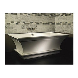 "MTI - MTI Intarcia Freestanding Bathtub w/ Inverted Pedestal (67"" x 40"" x 24"") - Low and sleek, the MTI Intarcia Freestanding Bathtub is a study in minimalist affect. The arched sides mimic the natural curve of your spine, inviting a long and soothing bath session. The primal and unadorned silhouette is clean of extraneous influence and provides a clean backdrop for your bath experience. The Intarcia is also available with an optional cherry-wood inlaid routed channel to add a bit of contrast to this already stunning tub. Also available with pedestal base and as tub only. Matching sink not included, but available. This beautiful tub is a built to work with wall-mounted or free standing faucets. Constructed using MTI's ""ESS"" (Engineered Solid-Surface) composite material, the Intarcia features a 10 year limited warranty and comes complete with integrated overflow and toe-tap chrome plated drain. The Intarcia Freestanding Bathtub is a product of the collaboration between MTI Whirlpools and world-renowned designer Matthew Quinn. Combining his visionary design talents with MTI's industry leading techincal prowess naturally results in bath pieces that blur the line between art and utility, and will change your perception of what a bath experience should be. Browse all of our Matthew Quinn designed products. Like all MTI products, the Intarcia Bathtub is built to order in the USA and ships within 14 business days, the fastest turnaround in the industry. Please note, custom orders may not be returned. More information regarding the return policy of your custom-built MTI Whirlpools product is available here.View Spec Sheet *Lead time 6-8 weeks on ALL finishes except for Chrome and Satin Nickel.Note: This item usually ships in 14 business days from the manufacturer. Please allow an additional 2-3 business days for order transmittal and verification."