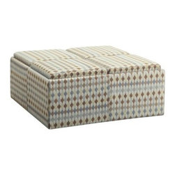 Homelegance Criss Cross Storage Ottoman - Prop your feet on it serve a light lunch at it stash a blanket in it - the Homelegance Criss Cross Storage Ottoman really will be the centerpiece of your living room. Crafted with durable fabric upholstery in a blue and tan criss-cross pattern this large ottoman is a 3-in-1 foot rest cocktail table and storage piece. Four removable lids open to interior storage - and they also flip over to be used as convenient perfectly sized serving trays. Hidden casters at the bottom let you easily position the ottoman too. About Homelegance Inc.Homelegance takes pride in offering only the highest quality home furnishings that incorporate innovative design at the best value. From dining sets to mirrors sofas and accessories Homelegance strives to provide customers with a wide breadth and depth of selection as well as the most complete and satisfying service available for their category. Homelegance distribution centers are conveniently located throughout the United States and Canada.