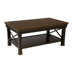 "Handmade/Hand-Painted Furniture (SALE ITEM) - The black/gold criss-cross coffee table is handmade and hand-painted with lower shelf. It's made of wood. Size: 40"" x 24"" x 18""H . Care: wipe with a cloth"
