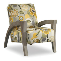 Sam Moore - Sam Moore Grasshopper Exposed Wood Chair - Quince Multicolor - 4472.11/9449 QUIN - Shop for Living Room Chairs from Hayneedle.com! The Sam Moore Grasshopper Exposed Wood Chair - Quince is a bold fun pattern perfect in your home. This chair features a medium soft tight seat and perfectly placed arms to make it lounge-worthy. The vibrant oversized botanical print and geometric exposed truffle-finished wood bring home retro cool style.About Sam MooreSince 1940 Sam Moore's hand-crafted upholstered furniture has offered extraordinary quality comfort and style. This Bedford Virginia-based company proudly crafts its products right here in the USA. From classic to transitional to contemporary styles Sam Moore takes time with every detail making sure each piece is something you'll appreciate in your home.