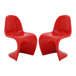Modway - Modway EEI-1254 Slither Dining Side Chair Set of 2 in Red - Sleek and sturdy, rock back and forth in comfort with this injection molded marvel. Constructed from a single piece of strong ABS plastic, the �s� shaped Slither chair can be found in many fashionable settings. Perfect for dining areas in need of a little zest, the design is versatile, fun and lively. Surprisingly cushy, choose from a selection of vibrant colors that won't fade over time. Slither is also perfect for spaces short on room.