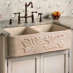 Ivy Polished Marble Double-Bowl Farmhouse Sink - The natural beauty of this polished marble farmhouse sink is accentuated by the carved ivy pattern on its apron front. This handcrafted basin will add a down-to-earth elegance to any kitchen.
