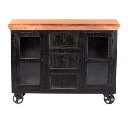 YOSEMITE HOME DECOR - Display Sidboard - This mobile solid mango display cabinet features a worn black finish with an aged copper clad top.Two glass panel doors surround the solid mango inner shelves. Three center drawers add even more storage space. The copper top is lacquered for durability and long lasting beauty. Do not use abrasive or ammonia based cleaners. The cabinet rests upon four cast iron wheels one wheel features a safety stop pin for added stability.. Hand crafted by  skilled artisons in India. Minor assembly required wheels.