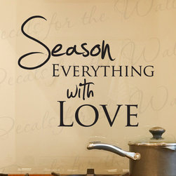 Decals for the Wall - Wall Decal Quote Sticker Vinyl Art Season Everything with Love Kitchen KI01 - This decal says ''Season everything with love''