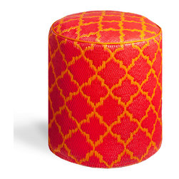 Fab Habitat - Tangier - Orange Peel & Rouge Red Pouf - Moroccan-inspired shapes never looked so chic than as the posh pattern for this modern pouf. Handmade from recycled materials by skilled artisans, this stylish pouf comes in a variety of  vivid colors and will work equally well as an ottoman in your living room, or a stool in your vanity area.