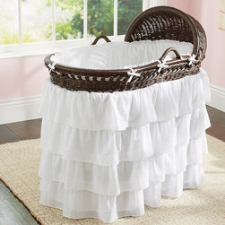 Ruffle Bassinet Bedding - Four tiers of cotton-voile ruffles cascade from our bassinet skirt, while the cotton voile bumper surrounds the bassinet's interior in cushioned comfort.