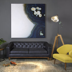 None - Natty Black Button-tufted Leather Sofa - This sleek natty leather sofa features a mid-century modern design with a low-profile button-tufted back,upholstered on lush Italian black leather. Plushly filled with duck feathers,this handsome sofa is mounted on wooden legs with a light brown finish.