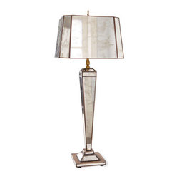 "Horchow - Hilton Mirrored Lamp - Covered in antiqued mirror with oxidized tin edges from base to shade, this handcrafted Art Deco-inspired lamp is simply too glamorous to ignore. Uses one 60-watt bulb. Includes 6.5"" harp and nickel finial. Base, 6""Sq. x 27""T. Shade, 12""W x 10""D x 8""T. Imported."