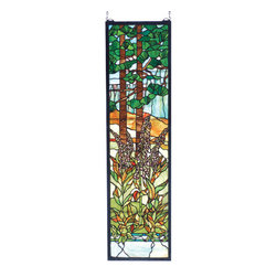 "Meyda Tiffany - Meyda 12""W X 44""H Tiffany Foxgloves Stained Glass Window - This nature inspired Foxglove window was originally designed by the L. C. Tiffany Studio. Meyda craftsmen and Artists have painstakingly reproduced it with colors of Emerald and Willow Greens, Forrest Browns, Mauves and Sky Blue. 824 pieces of hand cut and copper foiled glass are used to create this striking window. A solid brass hanging chain and brackets are included."