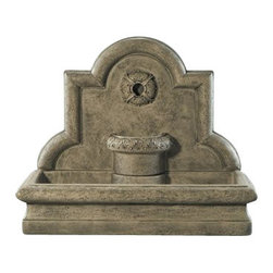 Rosette Wall Fountain, Country Oak - The beautiful Rosette Wall Fountain is an exquisite piece of work that will make your outside setting or garden stunning to your visitors. It creates a serene water sound that sets up a more peaceful ambiance. It's a wonderful home asset that you will surely prize for the coming years.