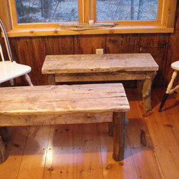 "Cottage Furniture - 1 Pair of Rustic, Handmade, Driftwood Benches (42"" x 15"" x 17""H)"