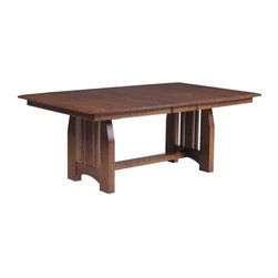 """Mission Dining Room Trestle Table - This Amish Mission table is available in three wood choices as well as a wide variety of finish options.  We also can customize this Trestle Table to fit your space.  Choose to have a solid top on the Mission table or select from one to four 12"""" extensions.  All of the table extensions come with skirting but only two will self store inside the dining room table."""