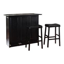"Crosley Furniture - Crosley Mobile Folding Bar in Black with 29"" Upholstered Saddle Stool - Crosley Furniture - Home Bars - KF400034BK"
