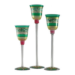 Christmas  Garland Candlesticks Set of 3 - A beautiful set of 3 candlesticks from our Mosaic collection and inspired by the colorful tiles of the Alhambra.  Works great as a dessert dish as well.  Something to be handed down from generation to generation.  Proudly hand painted in the USA.