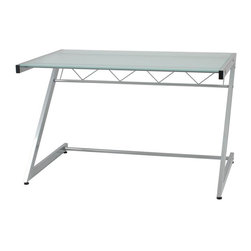 Euro Style - Medium Computer Desk w Glass Top, Z Base, - Z - Add Hanging File: Hanging File - Aluminum/FrostMade of Steel frame and Tempered Glass Top. Heavy duty powder epoxy coated . Tempered frosted glass desk top and shelves. Suitable for commercial use. Adjustable feet. Some assembly required. Assembly Instructions. 50 in. W x 30 in. L x 37.5 in. H (75.84 lbs.)