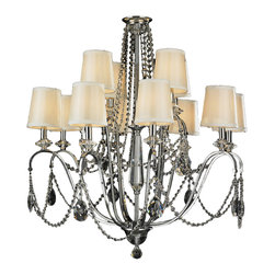 """Worldwide Lighting - Innsbruck 12 Light Arm Chrome Finish & Crystal Chandelier 35"""" x 35"""" Ivory Shade - This stunning 12-light chandelier only uses the best quality material and workmanship ensuring a beautiful heirloom quality piece. Featuring a radiant chrome finish, beautiful curved arms with fabric shades which support 12 candelabra lights and all over crystal embellishments made of finely cut premium grade 30% full lead crystal, this chandelier will give any room sparkle and glamour. Worldwide Lighting Corporation is a privately owned manufacturer of high quality crystal chandeliers, pendants, surface mounts, sconces and custom decorative lighting products for the residential, hospitality and commercial building markets. Our high quality crystals meet all standards of perfection, possessing lead oxide of 30% that is above industry standards and can be seen in prestigious homes, hotels, restaurants, casinos, and churches across the country. Our mission is to enhance your lighting needs with exceptional quality fixtures at a reasonable price."""