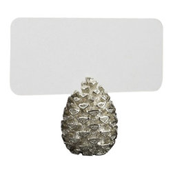 """L'Objet - L'Objet Pinecone Place Card Holders, Platinum - Modern in style yet traditional in essence, L'Objet Place Card Holders are an elegant addition to the table. Layered in 24K gold or platinum, the collection is rich in details, including hand-set Swarovski crystals and semi-precious gemstones. Platinum-Plating, Set of 6Measures: 1"""" x 1.5"""" Includes: Place Cards (Set of 25); Refill available. Luxuriously Gift Boxed"""