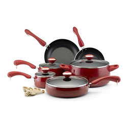 Paula Deen - Paula Deen Collection Porcelain Nonstick 15 pc. Cookware Set - Red Speckle - 125 - Shop for Cookware Sets from Hayneedle.com! Round out your collection with the eye-catching Paula Deen Collection Porcelain Nonstick 15 pc. Cookware Set - Red Speckle. This set includes everything you need and has aluminum construction that heats evenly and quickly - plus it has nonstick surfaces and porcelain exteriors that make clean up a cinch. All pieces are oven-safe to 350 degrees F and the soft-touch handles give you a comfortable secure grip. Set Includes: 1-qt. covered saucepan 2-qt. covered saucepan 6-qt. covered stockpot 2.75-qt. covered saute 8-in. skillet 10-in. skillet 5-Piece rooster measuring spoon set