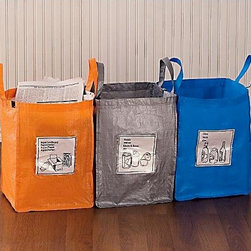 Gaiam Folding Recycling Bags - These color-coordinated bags make sorting and transporting a breeze.