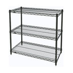 InterMetro Industries - Metro Shelving Unit - 48x18x33 Black - As the original wire storage shelving system and still the industry leader, Metro shelving continues to evolve and aims to meet the diversity of todays storage challenges. These professional grade units hold more weight. The three (3) shelves can be positioned, or re-positioned, at precise 1 increments along the length of the posts.  Open wire design minimizes dust accumulation and allows for free circulation of air and greater visibility of stored items. Casters (sold separately) available for mobile applications. This post-based shelving system, created in 1965, is recognized worldwide as the most popular commercial shelving system ever.  Assembly required