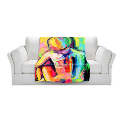 DiaNoche Designs - Throw Blanket Fleece - Femme 183 - Original artwork printed to an ultra soft fleece blanket for a unique look and feel of your living room couch or bedroom space. Dianoche Designs uses images from artists all over the world to create Illuminated art, canvas art, sheets, pillows, duvets, blankets and many other items that you can print to. Every purchase supports an artist!