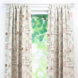 Chooty & Co. - Postale Charcoal Tab Top Curtain Single Panel, 54x96 - - Postale Charcoal 54wx96l Tab Top Curtain Panel, sold 1 per pkg, will brighten any room  - Single Panel  - Tab Top  - Not Weighted  - Does not included rod.  - Hand or spot clean  - 88% Cotton 12% Rayon Chooty & Co. - CPB963062