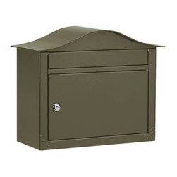 Lunada Locking Wall-Mount Mailbox - The curved top of this steel mailbox contrasts nicely with the rectangular body and insertion slot. Corner embellishments add style, while the locking door ensures security.
