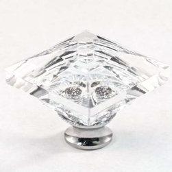 Cal Crystal - Cal Crystal Square Crystal Knob Solid Brass Base - Cal Crystal Square Crystal Knob Solid Brass Base (Choice Of Base )