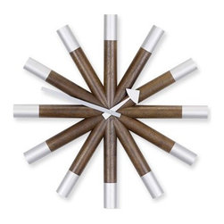 Vitra - Nelson Wheel Wall Clock - Good design is timeless. One of the pioneers of American modernism, George Nelson designed this clock in 1961, yet it looks thoroughly 21st century thanks to dark stained walnut arms tipped with brushed aluminum. No matter the style of your home, this handsome timepiece is right in your wheelhouse.