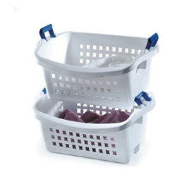 Rubbermaid Stack'N Sort Laundry Basket - Want a simple and inexpensive way to sort laundry? These Rubbermaid baskets stack, and nest together when not in use, to save space. Comfortable handles make them easy to transport.